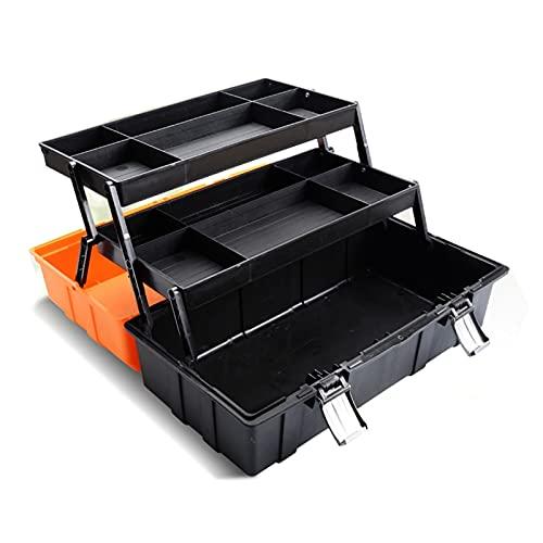 Caja de herramientas de transporte Caja de herramientas de hardware portátil Caja plegable de 3 capas Caja de almacenamiento multifuncional Espesar Caja de herramientas de gran mantenimiento para el h