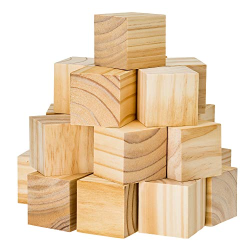 Wooden Cubes for Arts and Crafts – DIY - Photo Blocks - 2 Inch Unfinished Natural Wood Blocks – 27 Pieces – by Dragon Drew