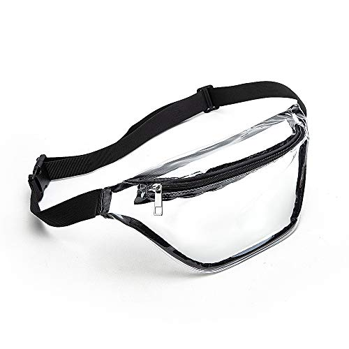 Clear Fanny Pack Women, Waterproof Small Clear Waist Bag Cute Waist Pack with Adjustable Strap, Clear Bag Stadium Approved, Perfect for Concerts, Hiking and Sports Events (Black)