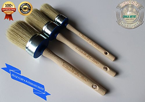 - #BB3 BLUEBRUSH-SET di 30 mm, 40 mm, 50 mm, per pittura a emulsione, con setole pure gesso & & mix sintetici in stile SHABBY CHIC, SET di 3 pennelli per pittura & interiour paintbrushes