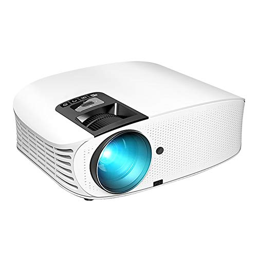 Lzww Proyector Video Proyector Multimedia 1080P HD para Home Business Teaching Office Meeting Show Teléfono Móvil Pantalla Cast,Blanco