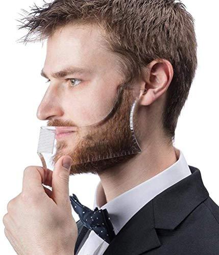 LucBuy Barbe Guide Outil Shaper ou Gabarit Clair pour la Coupe et Le Rasage, Modélisant Le Gabarit avec 4 Lignes de Contrôle de Toilettage et Un Peigne Moustache