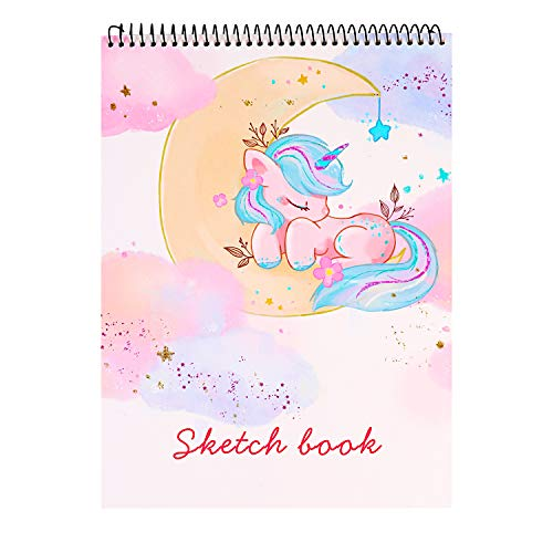 Sketch Book, 100 Pages (50 Sheets), Spiral Bound Artist Sketch Pad, Durable Acid Free Drawing Paper for Drawing, Painting, Sketching or Doodling for Girls