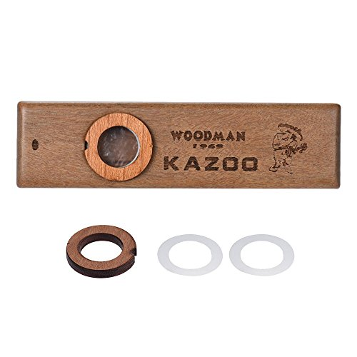 Medeer Kazoos Wooden Kazoo Wood Harmonica for Kids Adults Musical Instrument Ukulele Guitar Partner with Metal Box for Music Lover