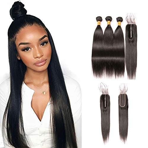 Brazilian Virgin Hair With Closure Straight Wave 3 Bundles 8a Grade Human Hair 2x6 Middle Part 14 Inch Closure and 16 18 20 Inch Unprocessed Natural Hair Tangle Free