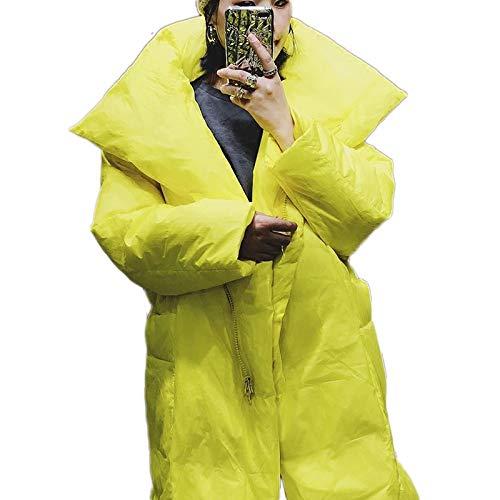 DPKDBN Vrouwen Down Jack, Geel en zwart lang donsjack vrouwen winter warme jas i-fashion parkas plus maat 7 XL speciale zakken
