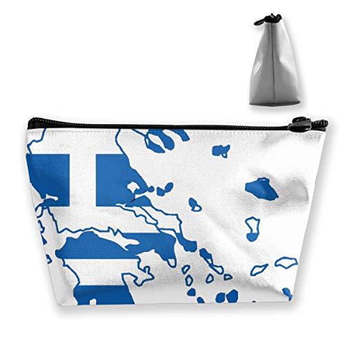 Griechenland Karte Mit Griechischen Flag1 Frauen Mädchen Hängen Clutch Bag Kosmetiktasche Reise Make-Up Taschen Trapez Tasche