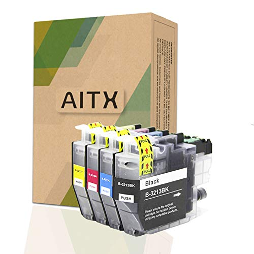 AITX LC3213 LC-3213 Cartuchos de Tinta Compatible con Brother DCP-J572DW DCP-J774DW DCP-J772DW MFC-J895DW MFC-J497DW MFC-J491DW MFC-J890DW, Repuesto para Brother LC3213VAL LC3211 4 Paquete