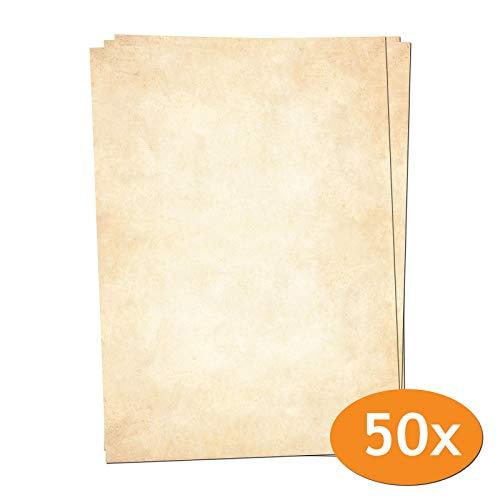 Presentou Briefpapier beidseitig Bedruckt 120 Gramm Papier | Motivpapier Urkundenpapier Urkunde Speisekarte Liebesbrief (Vintage Hell, 50 Bögen)