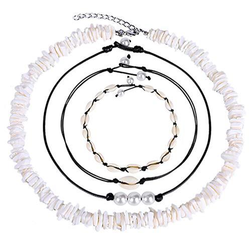 Healifty 4Pcs Puka Chips Shell Choker Necklace Seashell Hawaiian Summer Beach Set Cowrie Beads Cord Pearls Pendants Christmas New Year Gifts for Women Girls
