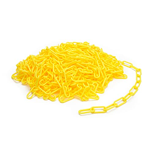 Steelman 100-Foot Yellow Plastic Safety Barrier Chain for Construction Site/Garage, Non-Marring/No-Rust Plastic, High-Visibility Yellow