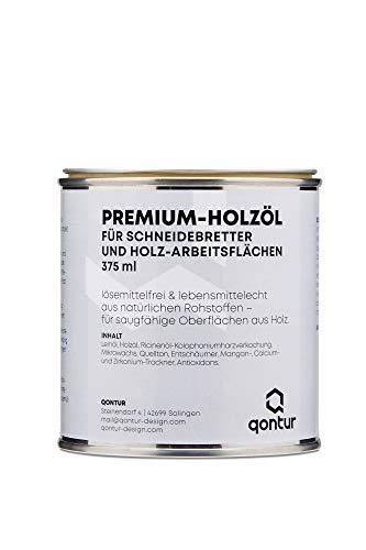 QONTUR Aceite de madera de calidad alimentaria para tablas de cortar y encimeras de madera, sin disolventes, de materias primas naturales, aceite de madera para interiores (375 ml)
