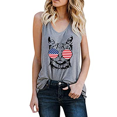 RAINED-Women Girls American Flag Shirt Cat Print Tees Short Sleeve Shirt 4th July Patriotic Top for Independence Day