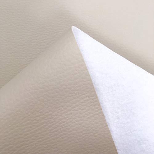 Kt KILOtela Tela por Metros de Polipiel para tapizar - Tapicería - Ancho 140 cm - Largo a elección de 50 en 50 cm | Crudo