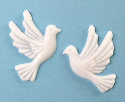 Wachsmotiv Taubenpaar, Weiss, 40x35 mm - 9630 - Wachsmotiv Tauben zum Kerzen gestalten und basteln, selbstklebend.