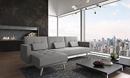 Skraut Home - Canapé d angle Convertible Verona 267cm, Convertible en lit, réversible,Gris Clair
