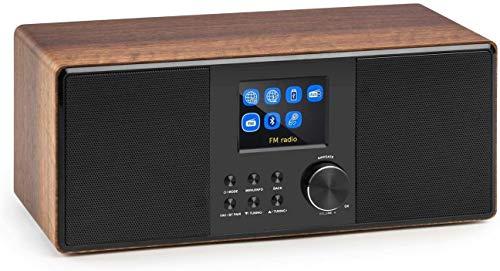 auna Connect 120 WN - Internet , numérique , WiFi , Lecteur réseau , Dab/Dab+/FM RDS , BT , USB MP3 , AUX , arrêt Automatique , TFT Couleur , réglage d'intensité , Heure , Bois , Noisette