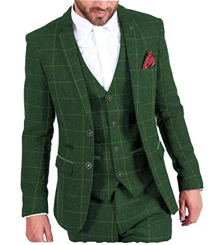 MoranX Casual Herren Anzüge 3 Teilig Wolle Kariert Fischgrätenmuster Tweed Smoking Business Jacke Blazer Weste Hose Hochzeitsanzug(Grün,54)
