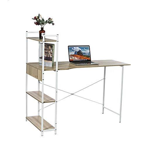 KYEEY Escritorio de ordenador portátil en forma de H, 47 pulgadas L, estilo moderno, curvado, recto, con 4 niveles, estantería para el hogar, trabajo y estudio (tamaño: 120 cm; color: blanco)
