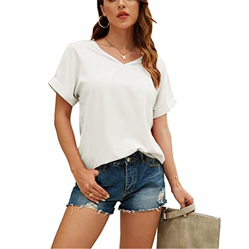 LYAZFC Camiseta Holgada Informal de Manga Corta con Cuello en V de Color sólido de Verano para Mujer