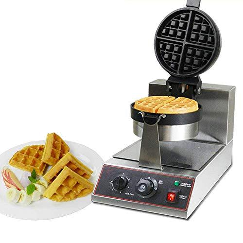 Máquina para Hacer gofres belgas de 4 rebanadas Acero Inoxidable clásica Redonda para gofres Control de Temperatura y Tiempo Antiadherente y antiescarcha Adecuada para restaurantes p
