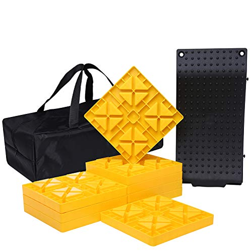 Homeon Wheels Camper Leveling Blocks, One Top Tire Saver Ramps and 9 Pack Interlocking Leveling Blocks with Carrying Bag, Heavy Duty Rv Leveling Blocks and Chocks Anti-Slip Pads Design (WH-202)
