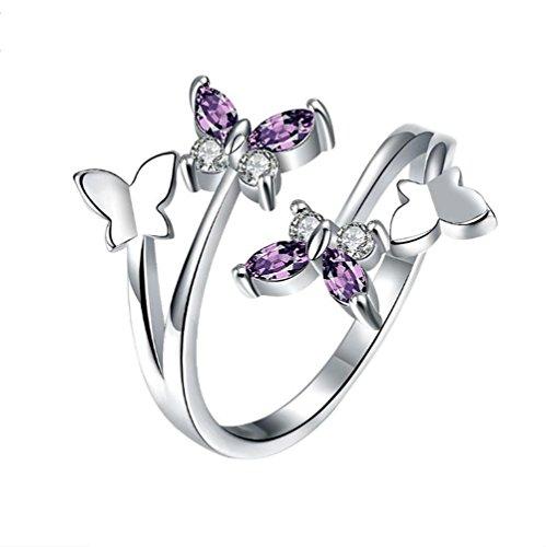Oyfel Anillo abierta ajustable forma mariposa plata
