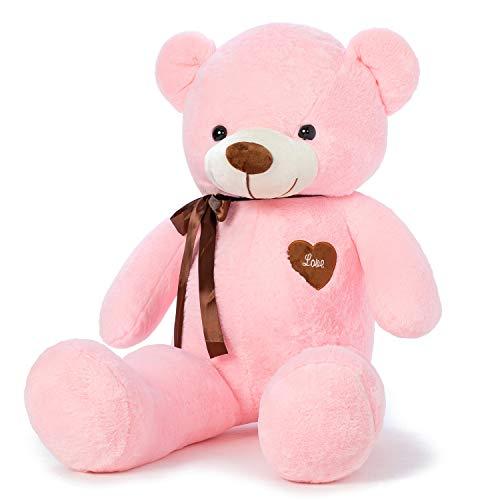 YunNasi Orso di Peluche Gigante Morbido Orsacchiotto L 80cm Rosa Teddy Bear Grande Regalo per Bambini e Fidanzate