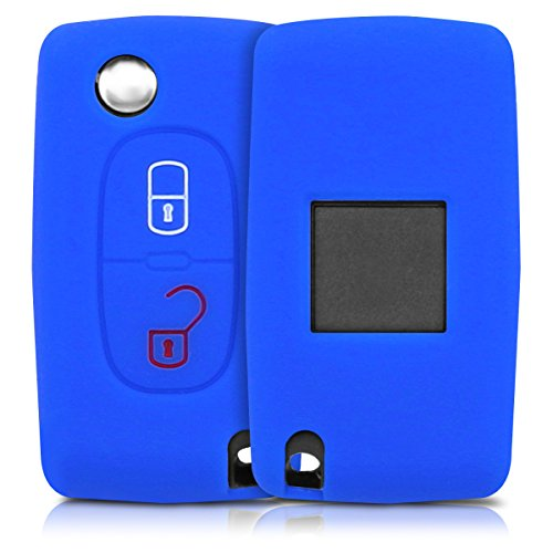 kwmobile Funda de Silicona Compatible con Peugeot Citroen Llave de Coche Plegable de 2 Botones - Carcasa Suave de Silicona - Case Mando de Auto Azul
