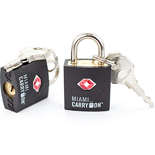 TSA Approved Padlock - Miami Carry On - Best TSA Keyed Luggage Lock, 0.9 Inch Wide - Keyed Different - Black (4 Pack)