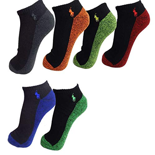 Polo Ralph Lauren Men's Classic Sport Marbled Ankle Socks - 6 Pairs (Assorted 2, 10-13)