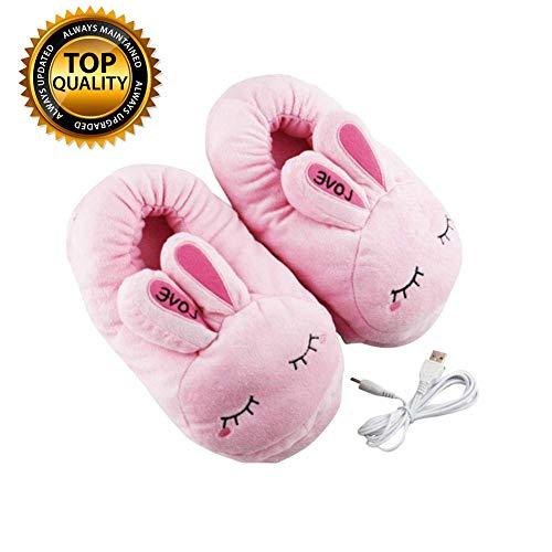 Ying-feirt Fußwärmer Stiefel Wasserpolster Creme, USB Electric Feet Heater Warmer Pantoffel mit Einstellbarer Temperatur, abnehmbar und waschbar, für Frauen, Männer, Erwachsene