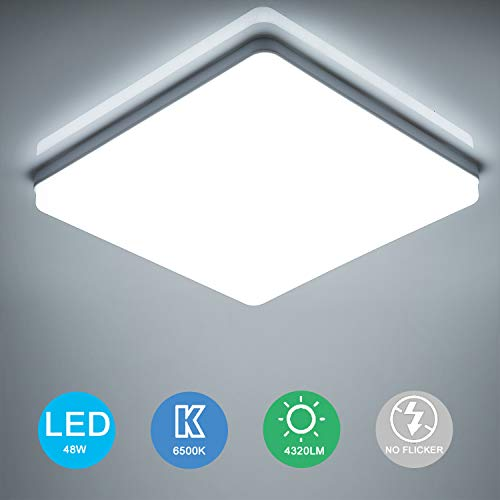 Yafido LED Lámpara de Techo Moderna 48W Plafón Led Cuadrado Ultra Delgado Downlight...