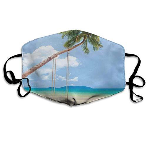 Cómoda M-a-sk, foto de una isla tropical con palmeras de coco y una decoración del hogar de playa, decoraciones faciales impresas para hombres y mujeres.