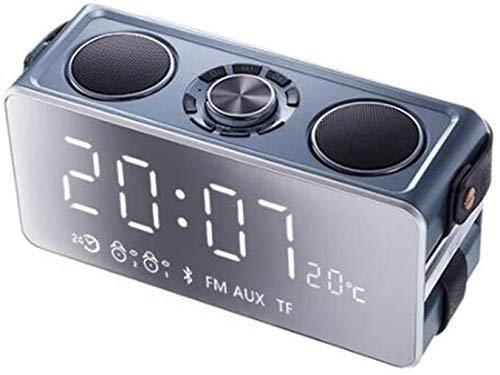 LFSP-batterij werkt Fashion kleine wekkerradio, opladen via USB Bluetooth speaker draagbare speaker mini speaker desktop digitale wekker (Color : Gray)