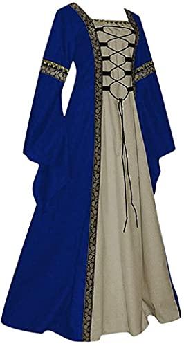 Babaseal Vestido retro gtico irlands acampanado mangas princesa disfraz Halloween medieval vestido, Azul / Patchwork, 4X-Large