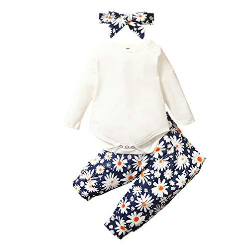 Sweets 3er Baby-Set mit Strampler, Hose, Stirnband als Baby-Erstausstattung für Mädchen und Jungen, Baby Kleidung (Weiß, 6-12 Monate)