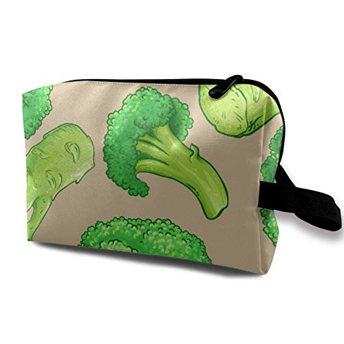 XCNGG Travel Makeup Storage Bag- Portable Toiletry Handbag Small Cosmetic Organizer Pouch for Women & Men- Broccoli