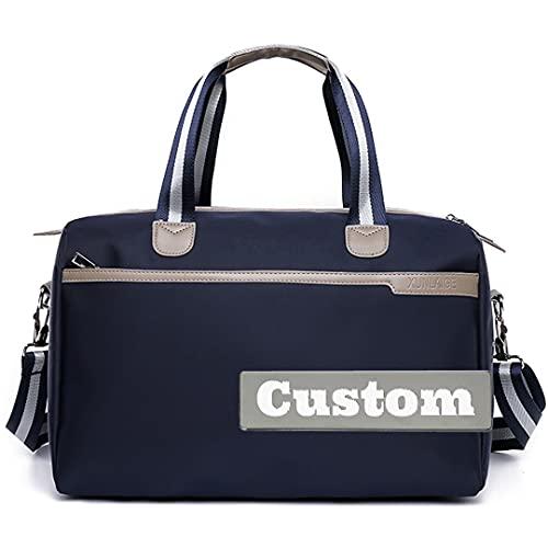 Nome personalizzato Pieghevole Carry on Duffel Canvas Duffle Borsa per uomo Pocket Duffel con tasca (Color : Blu, Taglia : One size)