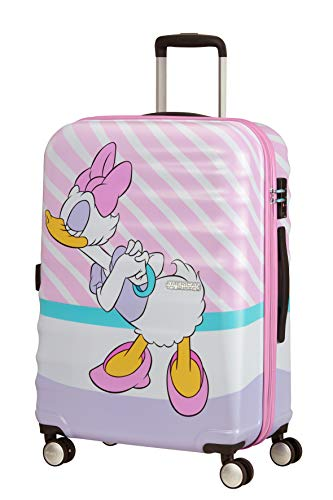 American Tourister Wavebreaker Disney - Spinner M Suitcase, Multicolour (Daisy Pink Kiss), 67 cm, 64 Litre