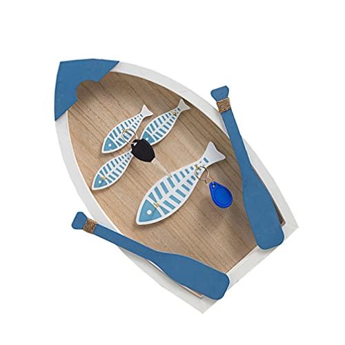 Caja de Almacenamiento de Llaves Mediterráneo Soporte de Pared para Llaves Armario de Almacenamiento de Pared de Madera Rústico Azul Náutico Gancho de Joyería Organizador de