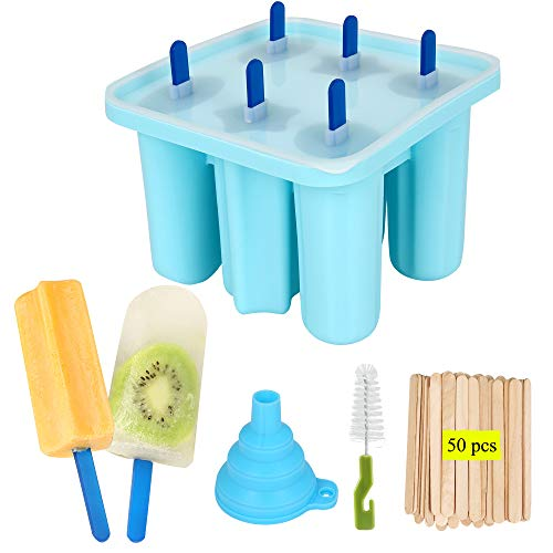 Popsicle Molds  Reusable BPAfree EasyRelease Popsicle Mould silicone funnel  cleaning brush  6 Ice Sticks50 wooden popsicle sticks blue