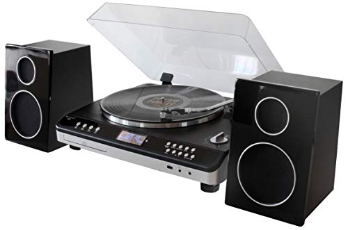 soundmaster Automatic Turntable Record Player HiFi System with Radio, CD...