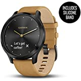 Garmin vívomove HR, Hybrid Smartwatch for Men and Women, Onyx Black w/Suede Band