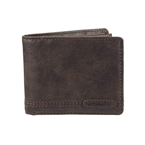 Columbia Men's Leather Extra Capacity Slimfold Wallet, Brown Logo, One Size