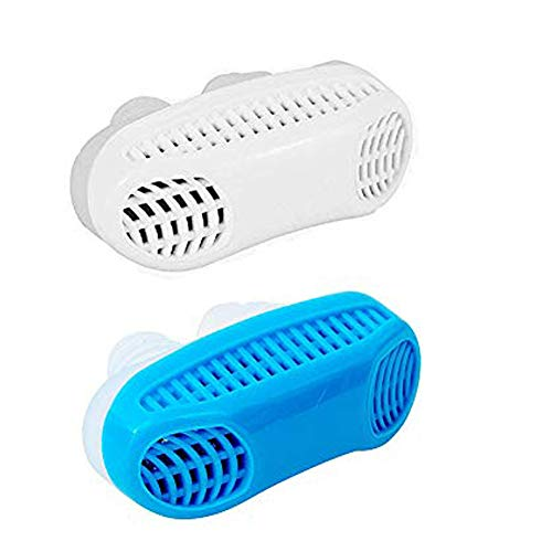 Anti Snore Snoring Aids, 2 Pack 2 in 1 Anti Snore Nose Purifier Snore Stopper Nose Vents Solution Blocker Preventer Relief for Women Men to Stop Snoring Noise Silent Night Sleep (White+Blue)