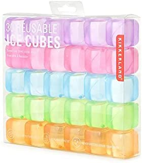 Kikkerland Square Reusable Ice Cubes, Made of Plastic (Set of 30)   Filled With Pure Water