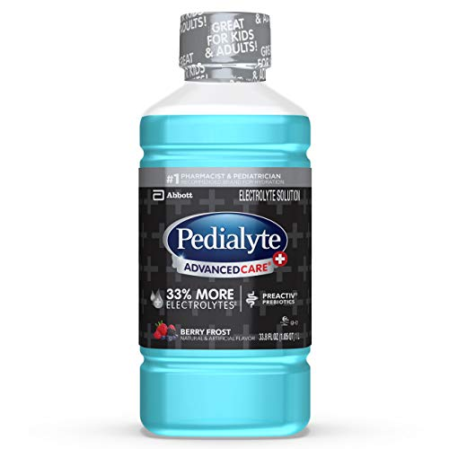 Pedialyte Advancedcare Plus Electrolyte Drink, 1 Liter, 4 Count, with 33% More electrolytes & Has Preactiv Prebiotics, Berry Frost