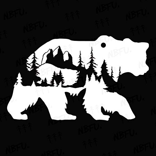 NBFU Decals Bear Mountains Adventure Forest 1 (White) (Set of 2) Premium Waterproof Vinyl Decal Stickers for Laptop Phone Accessory Helmet Car Window Bumper Mug Tuber Cup Door Wall Decoration