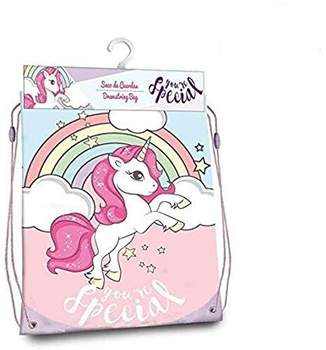 Kids Licensing Unicorn Gym Bag 40 x 33 cm Rucksack mit Kordelzug Freizeit und Sportbekleidung für Kinder, Jugendliche, Unisex, mehrfarbig, Einheitsgröße